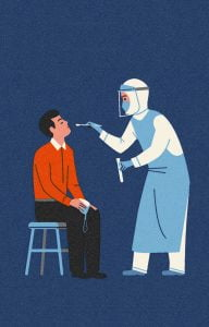 Doctor treating a corona patient